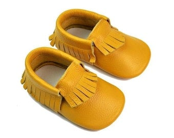 Baby&Toddler Leather Moccasins ~ Yellow