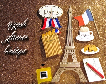 Set of 8 Paris, Eiffel Tower, Croissant....Everything French! Stickers for Your Planners/Agendas/Organizers