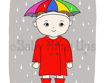 Little girl in rain, cute baby prints, umbrella girl, baby prints, girl in rain prints, baby in red rain coat