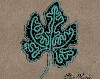 MACHINE EMBROIDERY DESIGN - Richelieu cutwork Leaf