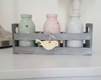 Hand Painted Mini Milk Bottles In Pink, Green & Grey With Polka Dots - Displayed In A Little Crate With A Little Bird On A Ribbon