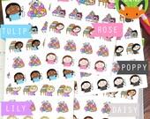 Laundry 2 Kawaii Girls Fail Adulting Washing Chores Sticker Set - Planner Stickers - Planner Decorations - Kikki-K & Erin Condren