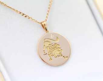 Leo Necklace, Zodiac Jewelry, Zodiac Necklace, Gold Necklace, Rose Gold Jewelry, white gold necklace, Solid Gold Zodiac Necklace