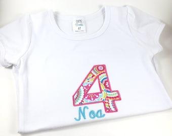 Personalized Birthday Shirt, Monogrammed Birthday Shirt, Embroidered Birthday Shirt, Girl Birthday Shirt, Boy Birthday Shirt