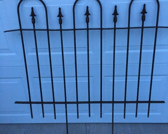 Rustic iron fence section industrial