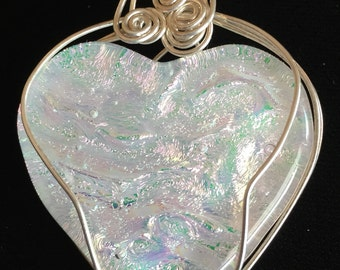 Sterling Silver, Wire Wrapped Glass Fused/Kilnformed Pendant with Dichroic