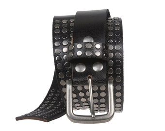 """1 1/2"""" Snap on Antique Silver Circle Metal Studded Distressed Leather Belt"""