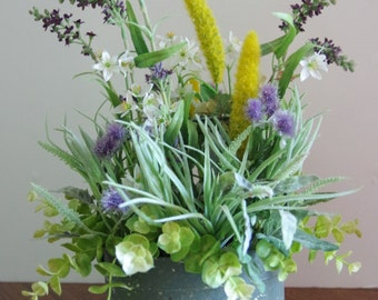 Silk Wildflower Arrangement in Tin Basket