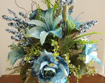 Silk Arrangement with Teal Roses, Lilies and Berries