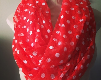 RED Lacy Infinity Scarf