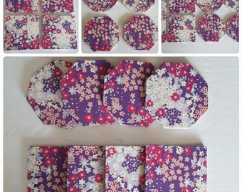purple floral coasters - white pink purple coasters - secret Santa gifts - wooden square coasters - hexagon coasters - purple home decor