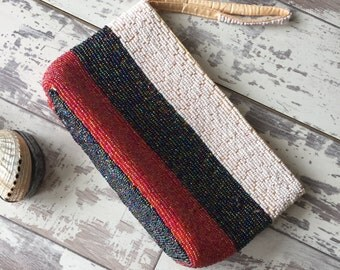 Striped Beaded Clutch Purse