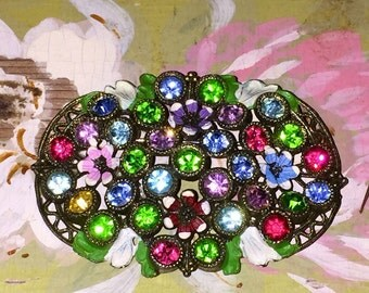 Antique Vintage Pastel Rhinestone Brooch Pin Early Costume Jewelry Painted Flowers
