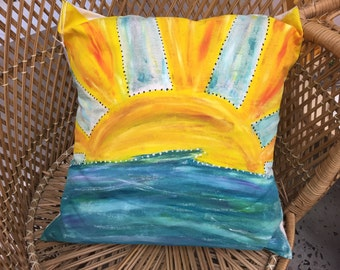 Hand painted pillow case