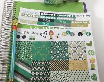 Green Mini Weekly Set ECLP Horz and Vert Planner Stickers - Full Week Set Floral ECLP Mambi Inkwell Press Filofax Kikki K Happy Life