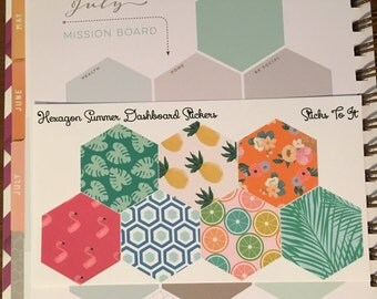Summer Themed Hexagon Stickers for Inkwell Press Monthly Dashboard ECLP Mambi Filofax Kikki K Happy Life Planner Tropical Flamingo Pineapple
