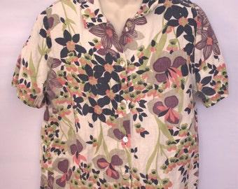 Hot Cotton Hawaiin Linen Shirt Size L