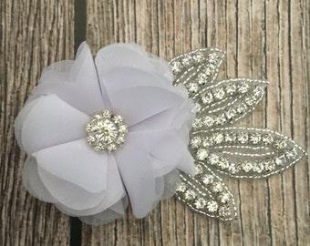 White hair clip, wedding hair clip, floral hair clip, rhinestone hair clip, vintage hair clip, flower hair clip