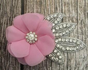 Light pink hair clip, wedding hair clip, floral hair clip, rhinestone hair clip, vintage hair clip, flower hair clip