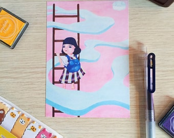 Girl in a Dream Postcard (A Print of an Original Painting)