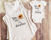 Mommy and me matching outfit, You are my sunshine Shirt, Mother and daughter shirt, mom shirt, Baby Shower Gift, New Mom Shirt