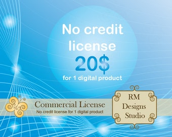 Sale 50%, No Credit Commercial License for 1 digital product, RM Designs Studio