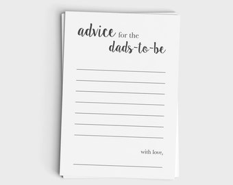 Advice Card for Dads-to-Be - Minimalist Gray Design - Instant Download - Baby Shower Game - Printable