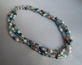 Shades of Teal and Silver Multi Strand Necklace