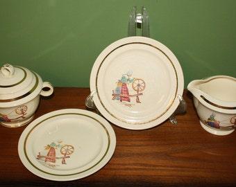 Quimper Set, Paden City Pottery, USA 5pcs