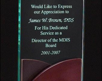 Premium Series acrylic award on a mahogany finish base w/ free engraving