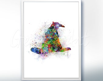 Harry Potter Sorting Hat Wizard Watercolor Art Poster Print - Wall Decor -Watercolor Painting - Home Decor - Kids Decor - Nursery Decor