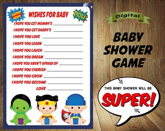 Superhero Wishes for Baby, Superhero Baby Shower Game, Superhero Baby Shower, Superheroes Baby Shower Game, Superhero Game,  Wishes for Baby