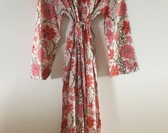 Gorgeous Cotton Robe/Dressing Gown - Orange Flower