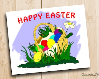 Easter Eggs Print - Happy Easter Greeting Card - Happy Easter Printable - Easter printable