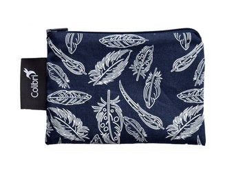 Ready to ship Pocket Wet Bag with zipper and PUL liner great for menstrual cups - Feathers