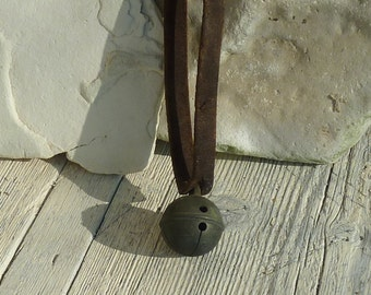 Antique Cow Bell Round Bell Complete with Leather Collar Iron Bell Cattle Sheep Primitive Farming
