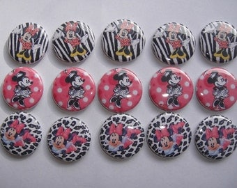 Minnie Mouse With Animal Print Buttons Set of 15