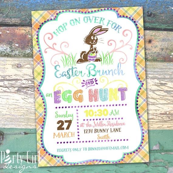 Easter Brunch and Egg Hunt Chalkboard Printable Invitation
