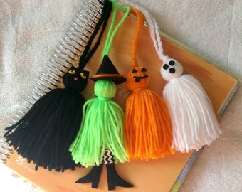 Halloween Planner Tassels - Witch, Black Cat, Ghost, Pumpkin - Yarn & Felt