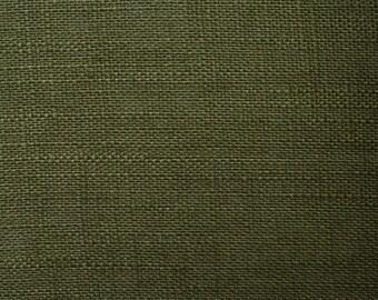 Linen natural - color: dark green - 100% natural fiber - 0.5 m