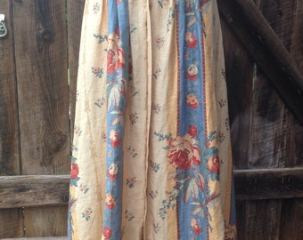 High waiated skirt, vintage 80s 90s linen floral high waisted button front linen romantic maxi skirt