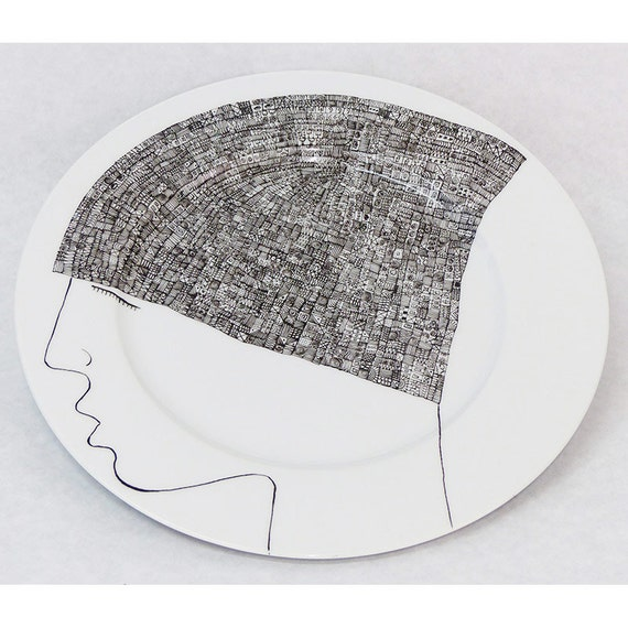 Hand painted porcelain collection plate  - Portrait with cap