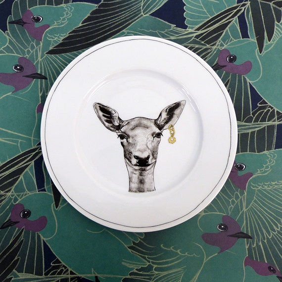 Hand painted porcelain collection plate  - Doe