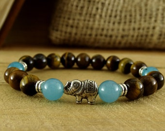 Tiger Eye Jewelry Protection Amulet Aquamarine Bracelet Elephant Jewelry Beaded Bracelet Reiki Infused Protection Bracelet Elephant Bracelet