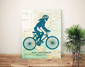 Cycling art, Bike art, Bicyclist Gifts, PERSONALIZED gift for Cyclist Girl, Cyclist female, bike map art, biking lovers, bicycle art