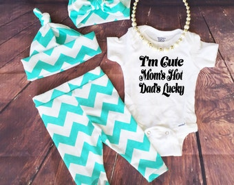 Baby Girl Coming Home Outfit, Teal Blue Chevron, Leggings, Hat and Headband, Hospital Outfit, Outfit set, Infant, Baby leggings