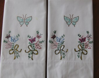 Hand Painted Vintage Pillow Cases with Butterflies