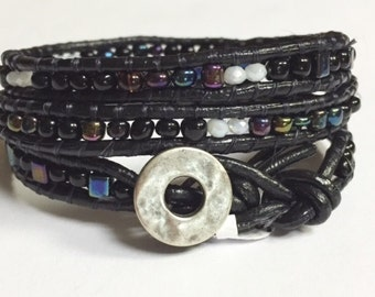 Leather Wrap Bracelet, Metallic and Black Beaded Leather Triple Wrap Bracelet
