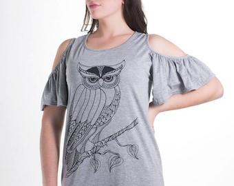 Women's Grey Owl Butterfly Sleeve Dress Small, Women's Owl Tunic Dress, Grey Tunic Dress Small, BSLO