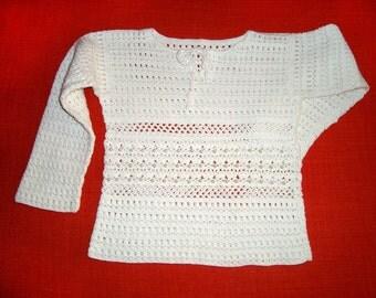 Crochet blouse, White girls top, Long sleeves top, Spring girls top, Girls gift top, White blouse, Lace blouse, Long sleeves blouse